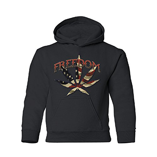 American Flag Freedom 420 Leaf Youth Hoodie Brand New Sweatshirt Black Youth X-Small by Zexpa Apparel (Image #2)