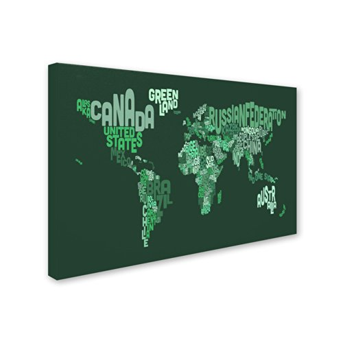Text Map of The World Artwork by Michael Tompsett, 16 by 24-Inch Canvas Wall Art by Trademark Fine Art (Image #1)
