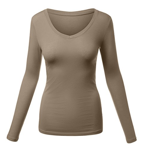 HATOPANTS Basic Long Sleeve V Neck Tee Plus Size Shirts Mocha (Mocha Satin A-line)