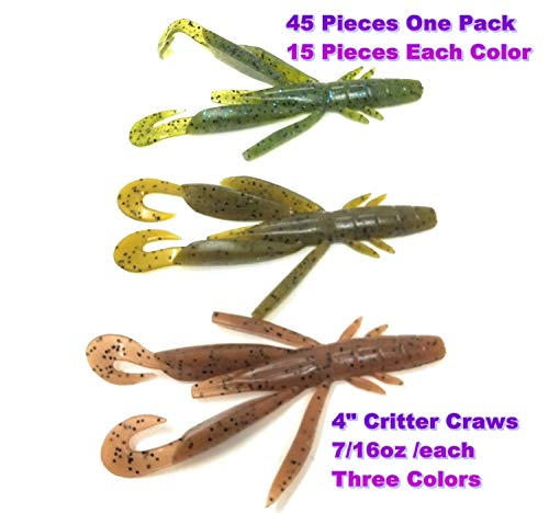 Wtrees #2710 Best Fishing Soft Baits Kits Creature Beaver Hogs Lizards Leeches Plastic (Craw Kit #27, Soft Lures) - Free Lizard