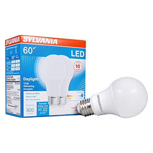 LEDVANCE 79282 Sylvania Non-Dimmable Semi-Directional Led Lamp, 8.5 W, 120 V, A19, Medium, 11000 Hr, 2 Pack, Daylight (5000K), 2 Count