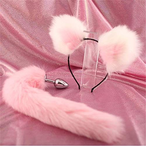 Make life wonderful Pink Three Sizes Fluffy Faux Fox Tail & Cat Ears Headband Charms Role Play Costume Party Masquerade Cosplay Prop (S)