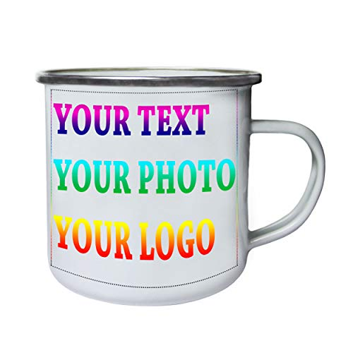 Customized Personalised Custom Printed Any Text Picture Logo Retro,Tin, Enamel 10oz Mug T-Enamele -