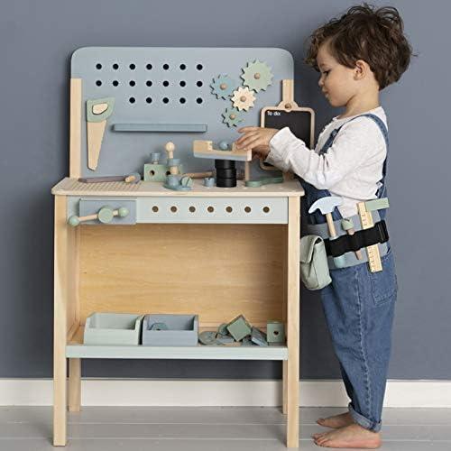 Tiamo Little Dutch 4448 Holz Spielwerkbank mit Werkzeuggürtel und Zubehör blau Mint 86x36x55 cm
