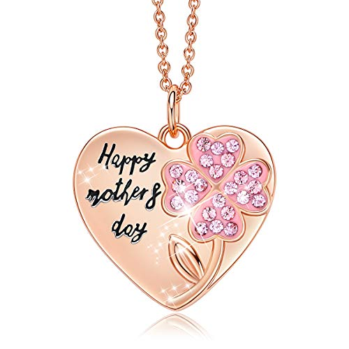 (CDE Mothers Day Necklaces Rose Gold Plated Heart Pendant Necklace for Women Gift, Embellished Crystals from Swarovski)