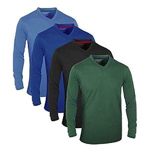 FULL TIME SPORTS® Tech 4-6 Pack FTS-639-650 T-Shirts Assortis à Manches Court et Long décontractés avec col en V