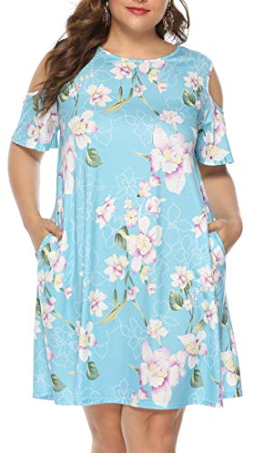 Plus Size Beach Bohemia Dress for Women Summer Basic Short Sleeve Pockets Loose Casual Floral Print Dresses(Floral Blue,2X) (Plus Size Club Dresses 2x)