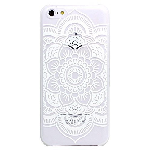 5C Case, LUOLNH Henna Full Mandala Floral Dream Catcher Hard Plastic Clear Case Skin Cover for Apple Iphone 5C