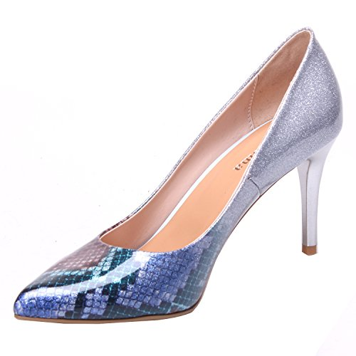 Pumps Women ZAPROMA Shoes Dress Pointed Heel Blue Python Toe Pumps Stiletto Sexy High HSrYBnSqz