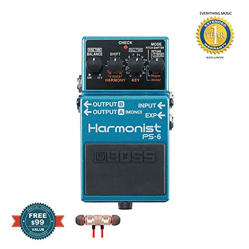 Boss PS-6 Harmonist Pedal includes Free Wireless Earbuds - Stereo Bluetooth In-ear and 1 Year Everything Music Extended ()