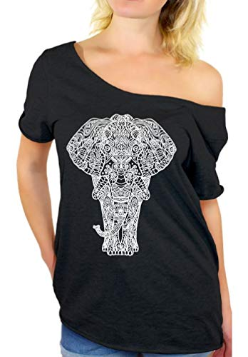 Awkwardstyles Women's Off Shoulder Shirt Tops T-shirt + Bookmark (Large/X-Large, ELEPHANT 1) - Elephant Fitted T-shirt