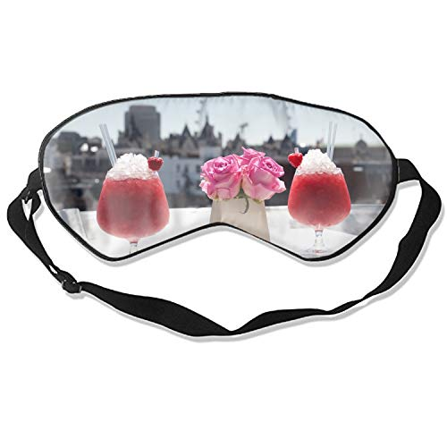 Sleep Mask, Cocktails Bacardi Ice Strawberries Raspberries Flowers London Silk Lightweight Breathable Comfortable Soft Eyeshade with Adjustable Head Straps for Women