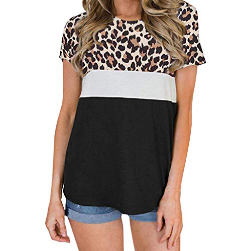 NCCIYAZ Womens T-Shirt Tops O-Neck Leopard Print Short Sleeve Ladies Fashion Casual Blouse(M(4),Brown) ()