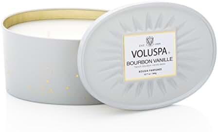 Voluspa Bourbon Vanille 2 Wick Candle In Decor Oval Tin 12.7 oz