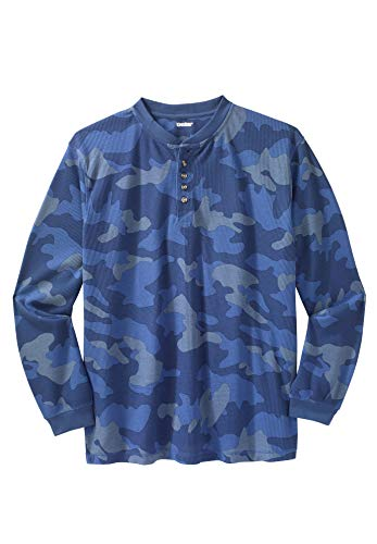 KingSize Men's Big & Tall Waffle Knit Thermal Henley Tee, Slate Blue Camo