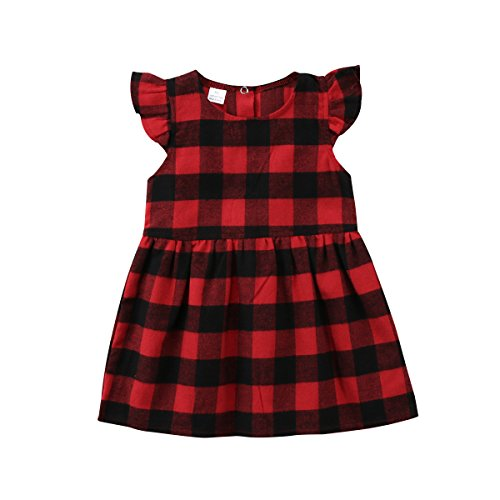 Lovely Baby Kids Girl Long Sleeve Plaids Checked Party Princess Floral Dresses Tutu (Red, 18-24 Months) Checked Baby Dress