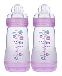 MAM Anti-Colic Bottle, Girl,  9 Ounces,  2-Count