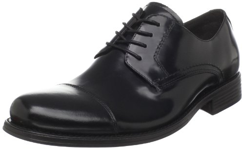 Johnston & Murphy Mens Atchison Cap Toe Oxford Nero Vitello Spazzolato