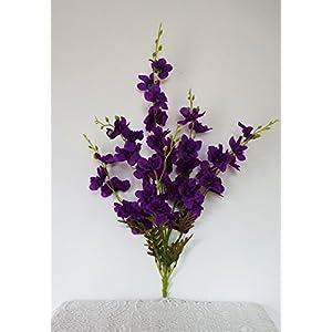 Sweet Home Deco 26'' Delphinium Larkspur Artificial Flower Bush (7 Stems/38 Flower Heads) for Home/wedding/ Centerpieces, No Pot Included (Purple) 100