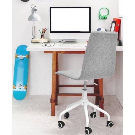 Rolling Comfortable Padded Linen Swivel Chair Office Furniture for Full Back Support, Available in Multiple Colors, featuring Ergonomic Design, and Adjustable height. Seat size: 17.5''W x 17.5''D x 37''H by Mainstay
