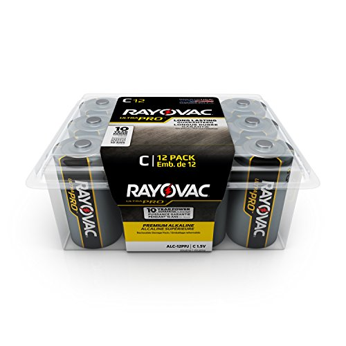 RAYOVAC C Ultra Pro Alkaline Batteries, 12-Pack with Recloseable Lid, ALC-12PPJ (Regular Cd Player)