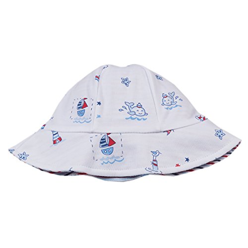 Kissy Kissy Baby Boys Nautical Blues Reversible Sunhat-Small ()