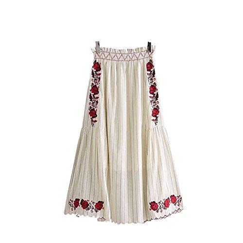 Swing Jupe Haute Blanc Longue Floral Taille pour Oudan Jupe Line mi Broder Longue A mi Femmes qBwF7zT4