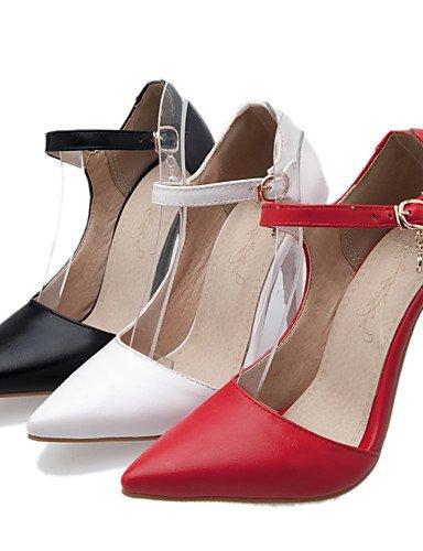 GGX/ Damenschuhe-High Heels-Kleid-Kunstleder-Stöckelabsatz-Absätze / Spitzschuh-Schwarz / Rot / Weiß red-us6.5-7 / eu37 / uk4.5-5 / cn37
