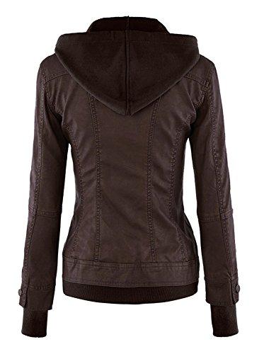 Faux Mode Caf Hooded Manteau Femme Cuir Capuche Fermeture clair Minetom Tops Blazer Court Blousons Veste Motard vqIRw5x5Z