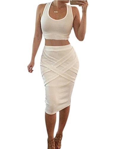 Allegrace Women Sleeveless Sexy 2 Pieces Bodycon Bandage Evening Dress White,Small (Sexy Womens Fancy Dress)