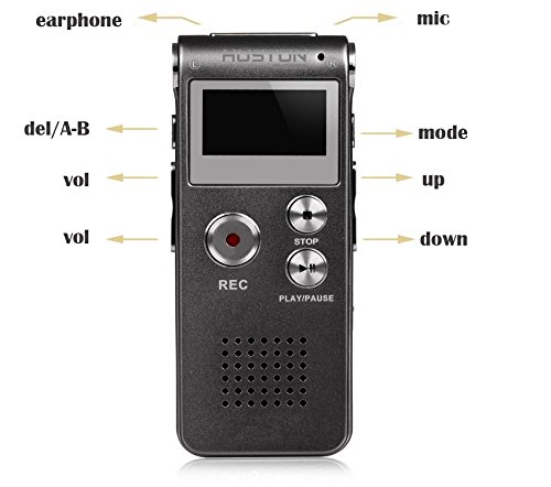 Aution House Multi-function Rechargeable 8GB Digital Voice Recorder MP3 Music Player - Rechargeable Dictaphone with Built-In Speaker LCD Display - USB Connection for Lecture Interview Meeting - Built-in Speaker Putting Headset Speaker Computer Playback