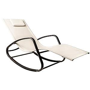 WeCooper Patio Zero Gravity Wavy Rocking Lounge Chair Biege