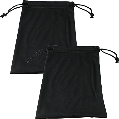 Two Large Black Micro-Fiber Bags Sunglasses Goggles Cell Phone Carrying Pouch Case Sleeve ()
