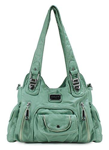 Scarleton Satchel Handbag for Women, Ultra Soft Washed Vegan Leather Crossbody Bag, Shoulder Bag, Tote Purse, Mint, -