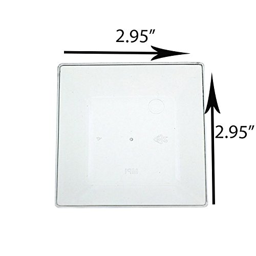 Exquisite Plastic Mini Square Appetizer Plates - 100 Ct Square plastic Dessert Plates - 2.95 Inch. x 2.95 Inch. (Clear) by Exquisite (Image #5)