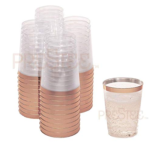Rose Gold Plastic Cups | 10 oz. 50 Pack | Hard Clear Plastic Cups | Disposable Party Cups | Fancy Wedding Tumblers | Nice Rose Gold Rim Plastic Cups | Elegant Decoration Cups | Plastic Tumblers Bulk
