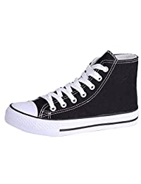 Honeystore Women's Classics High-Top Canvas shoes Flat Sneakers Lace up