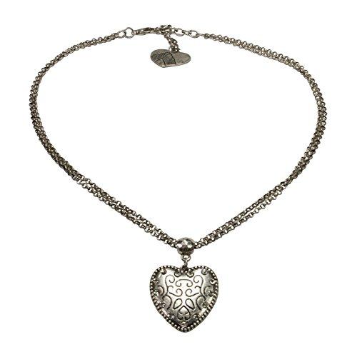 Alpenflüstern Damen Trachten-Halskette Herz klein altsilber-farben DHK17000095