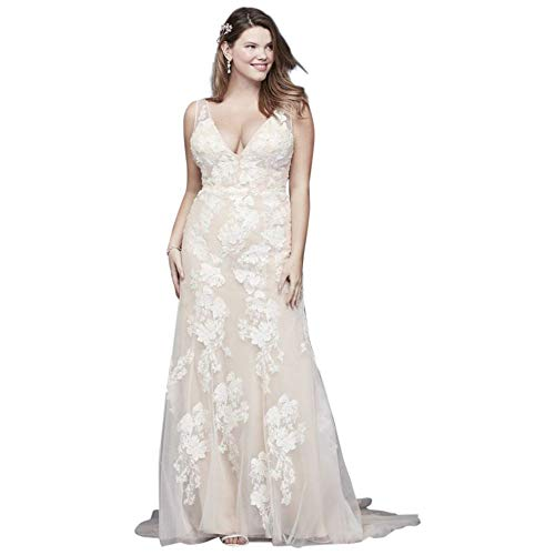 Deep V Plus Size Wedding Gown with Floral Applique Style 8MS251200