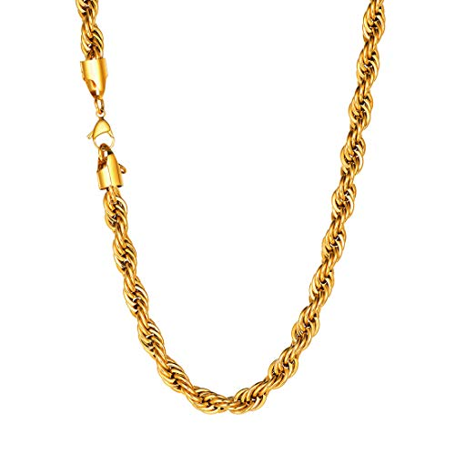 U7 Twisted Style Rope Chain 6mm Wide 18KGP Stamped Gold Plated Stainless Steel Cord Necklace for Men Women, Wear Alone or with Pendant, 22
