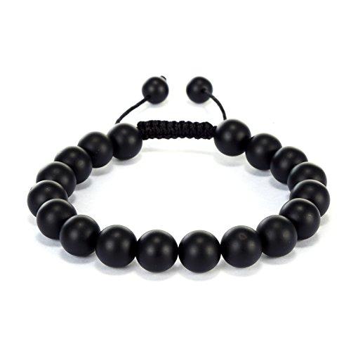 BRCbeads Gemstone Bracelets Matte Black Onyx Enhance Color Birthstone Healing Power Crystal Beads Handmade 10mm Stretch Macrame Adjustable Loose Beads With Gift Box Unisex