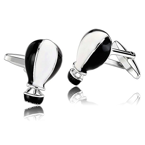 AmDxD Jewelry Stainless Steel Men Cufflinks Black White Hot Air Ballon Cuff Links (World Mk Map Watch)