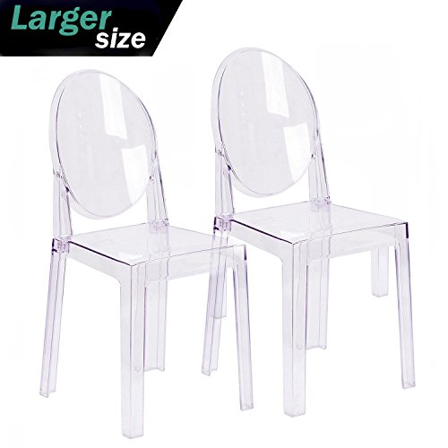 2xhome - Set of Two (2) - Clear - Large Size - Modern Ghost Side Chair Ghost Chair Clear Victoria Chairs Dining Room Chair - Accent Seat - Lounge No Arms Armless Arm Less (Seat Armless Stack Chair)