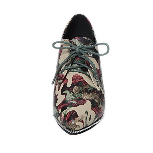 AllhqFashion Damen Niedriger Absatz Gemischte Farbe Schnüren Spitz Zehe Pumps Schuhe Rot