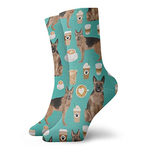 Coffee And Dogs Fabric German Shepherd Coffees Design Cute Dog Fabric_566Painting Art Printed Funny Novelty Animal Casual Cotton Crew Socks 11.8inch
