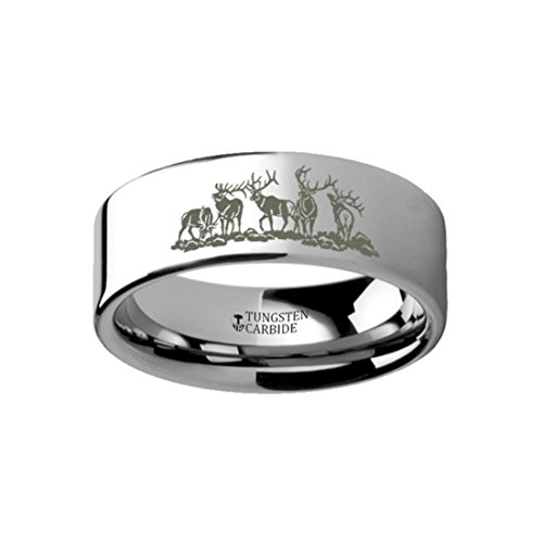 Thorsten DEER STAG 5 Images Animal Landscape Scene Hunting Mans Ring Engraved Flat Tungsten Ring - 10mm Wide Band with Free Custom Engraving Personalized from by Roy Rose Jewelry Deer Hunting Engraving