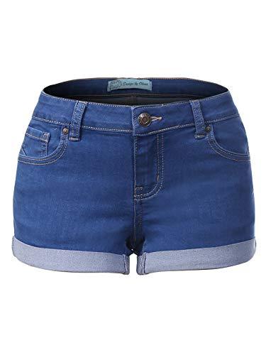 Design by Olivia Women's Casual Stretchy Cuffed Hem Push Up Denim Jean Shorts with Pockets Medium Denim 3XL
