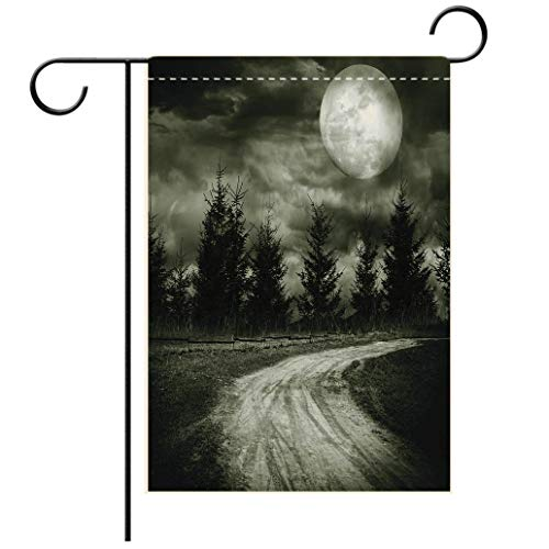 Polyester and linen Garden Flag Outdoor Flag House Flag BannerHorror House Decor Moonrise Magic Landscape with Empty Rural Path to Pines Dramatic Vampire Waydecorated for outdoor holiday gardens ()
