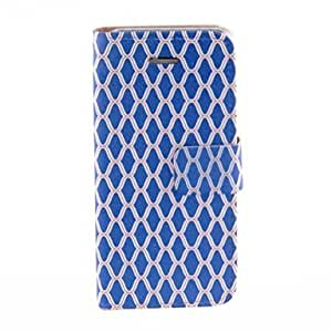 GONGXI-Kinston azul de la red Pétalos PU Leather Case cuerpo completo con soporte para iPhone 5/5S