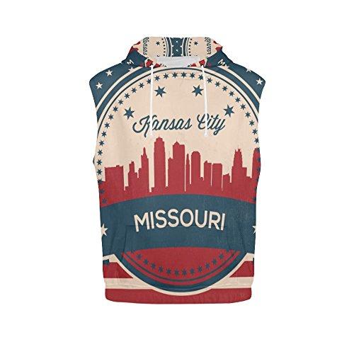 Vintage American Flag Missouri State Kansas Skyline Men's 3D Printed Sleeveless Hoodie